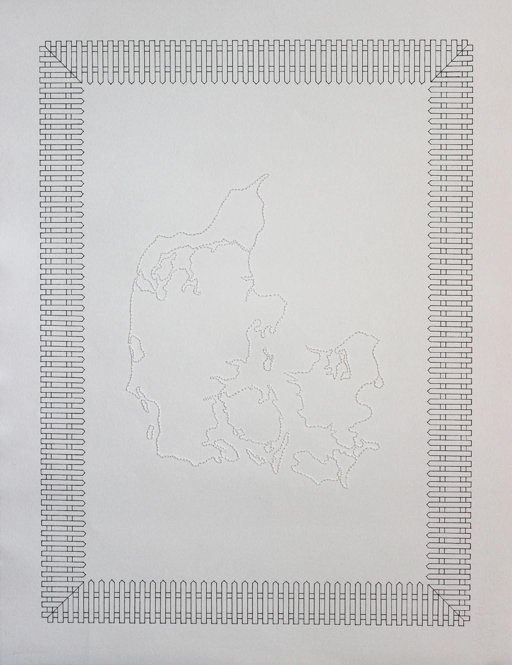 Lene Desmentik, Danmarks Hegn, 2014, Ink and string on paper, 65x50cm, framed