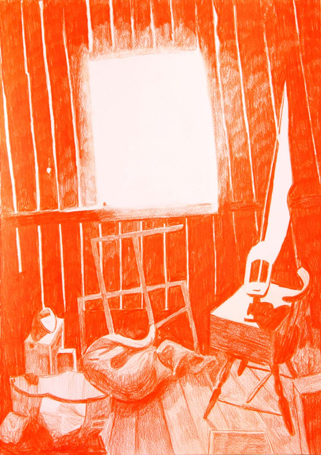 Morten Schelde, Tannåker, 2015, colourpencil on paper, 42 X 29 cm, framed